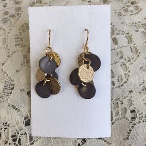 Gray and gold disc dangle earrings